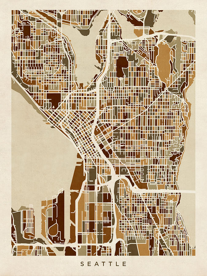 Seattle Washington Street Map Digital Art by Michael Tompsett