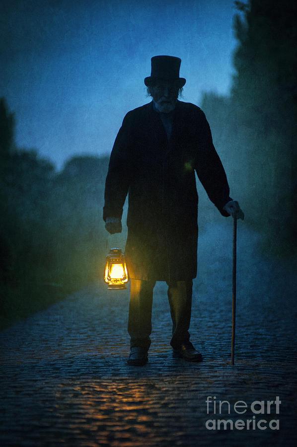 Senior Victorian Man With Lantern Photograph By Lee Avison