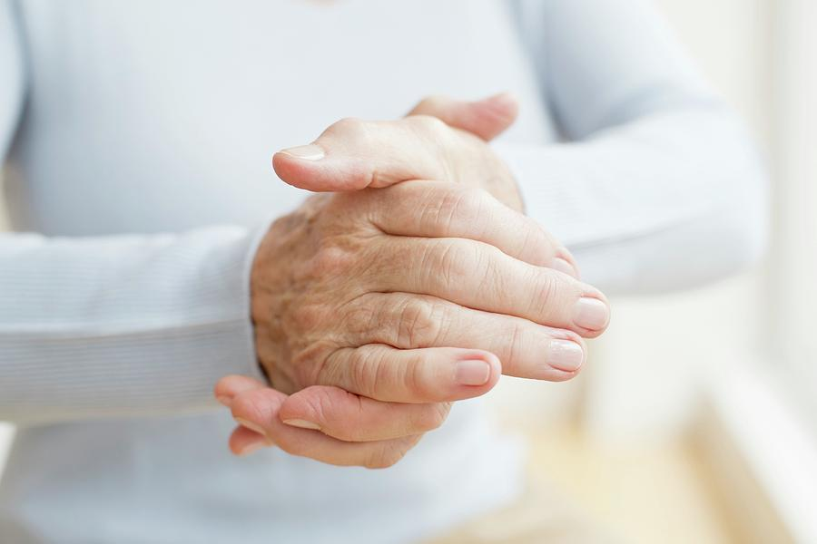 Indoors Photograph - Senior Womans Hands by Science Photo Library