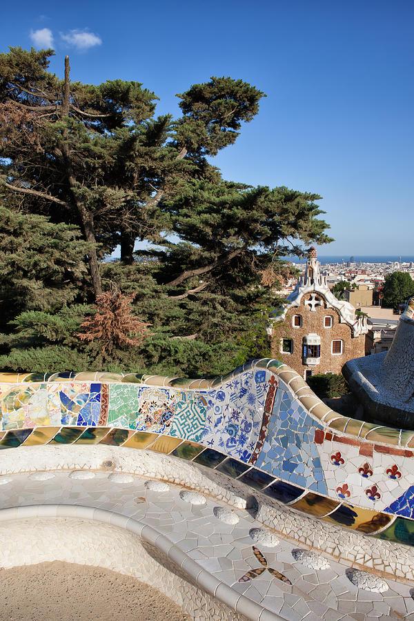 Park Photograph - Serpentine Bench In Park Gueli In Barcelona by Artur Bogacki