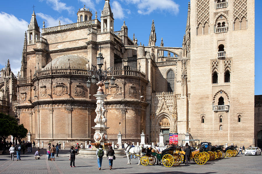 Seville Photograph - Seville Cathedral In The Old Town by Artur Bogacki