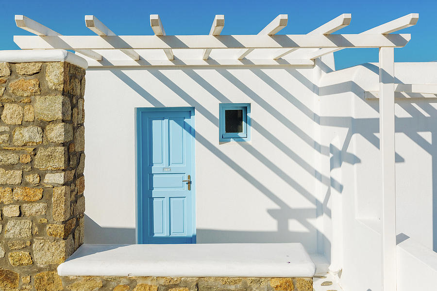 Shadow On Traditional Greek House Photograph by Deimagine
