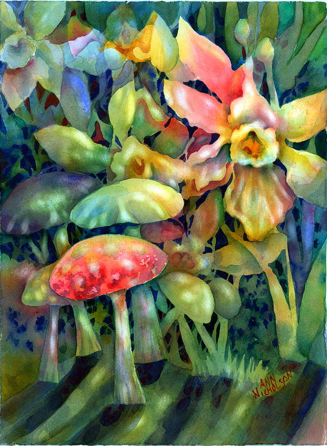Mushrooms Painting - Shadowland by Ann  Nicholson
