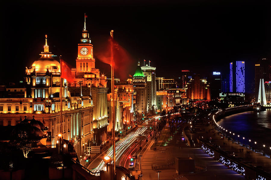 Architecture Photograph - Shanghai, China Bund At Night Cars by William Perry