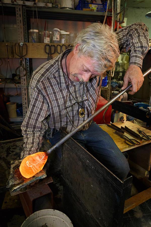 Flemish Photograph - Shaping molten glass by Paul Indigo