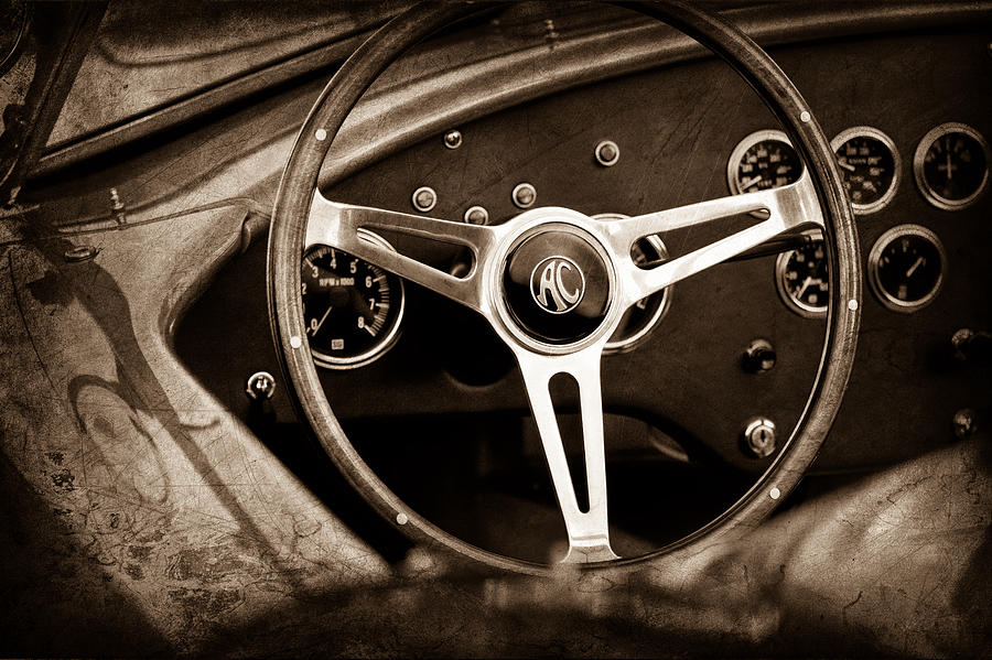 Sepia Photograph - Shelby Ac Cobra Steering Wheel Emblem by Jill Reger