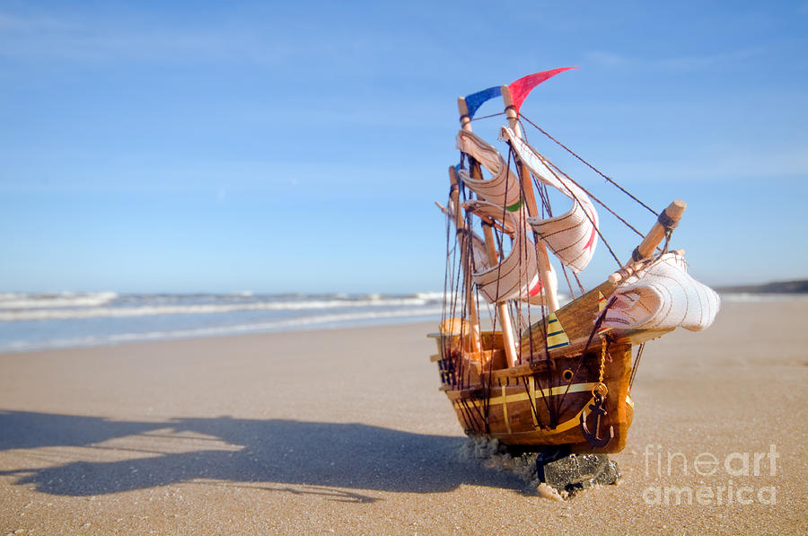 Beach Photograph - Ship Model On Summer Sunny Beach by Michal Bednarek