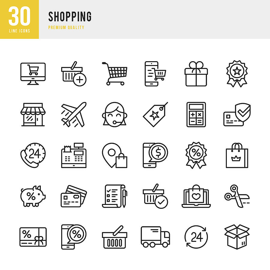 Shopping - Thin Line Icon Set Drawing by Fonikum