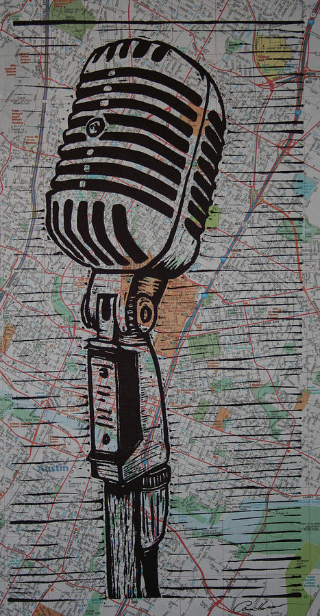 Mic Drawing - Shure 55s On Map by William Cauthern