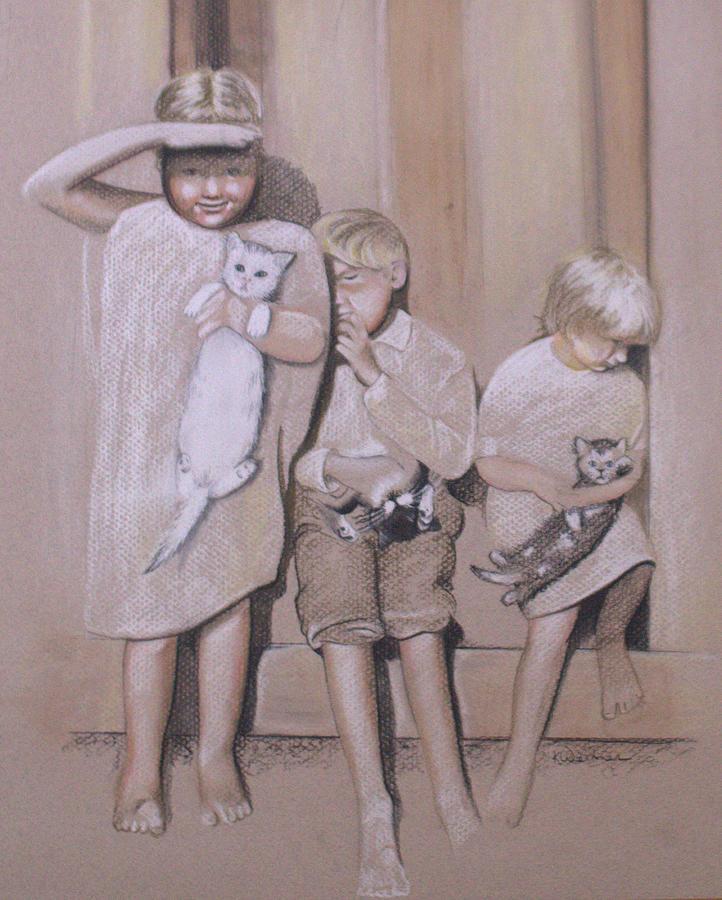 Siblings Drawing - Siblings by Kathy Weidner