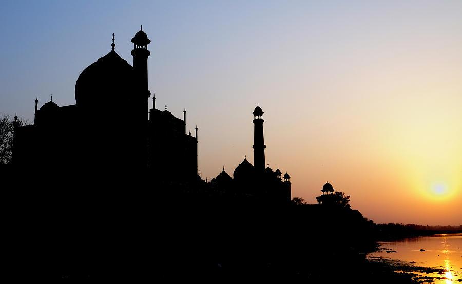 Agra Photograph - Silhouette Of The Taj Mahal At Sunset by Steve Roxbury