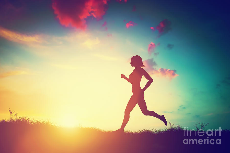 silhouette of woman running at sunset photograph by michal Running Clip Art Black and White Running Race Clip Art