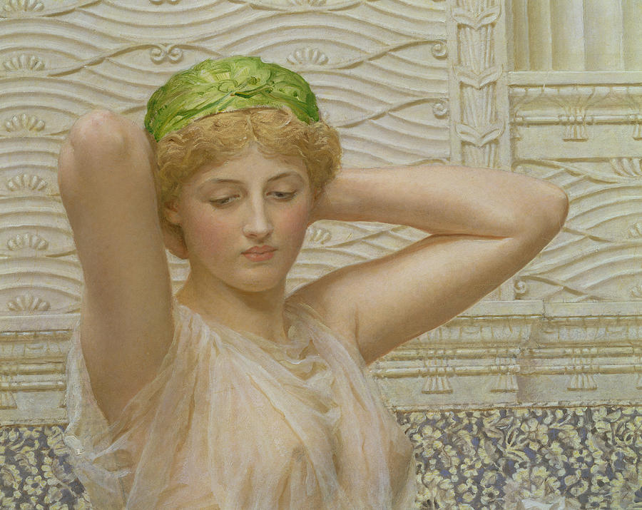 Silver (oil On Canvas) Female; Allegorical; Pre-raphaelite; Erotic; Grecian Dress; Pre Raphaelite Painting - Silver by Albert Joseph Moore