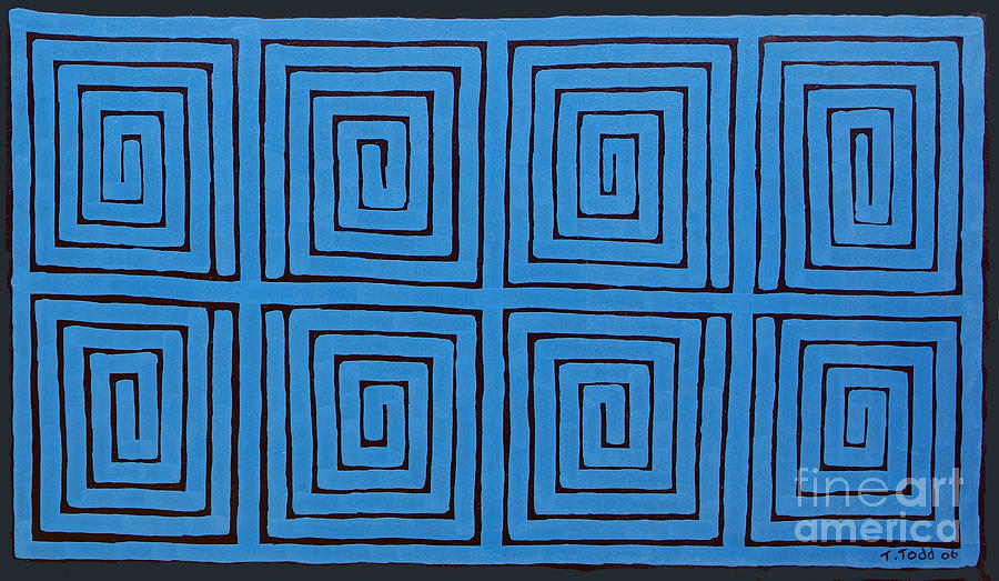 Blue Painting - Simple Mazes No.2 by Trevor Todd