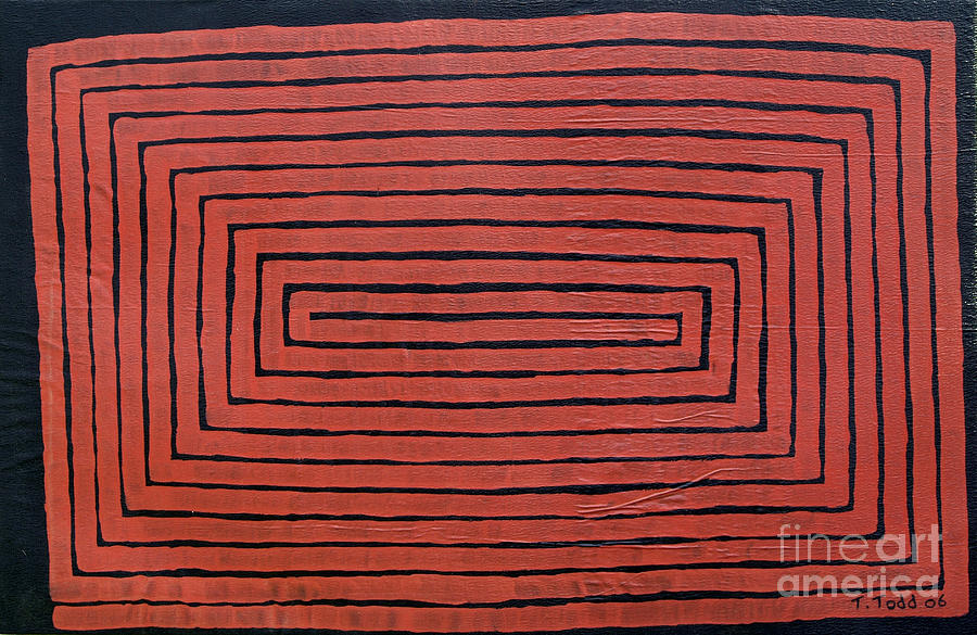 Red Painting - Simple Mazes No.3 by Trevor Todd