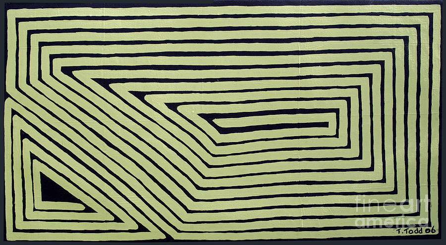 Mint Green Painting - Simple Mazes No.6 by Trevor Todd