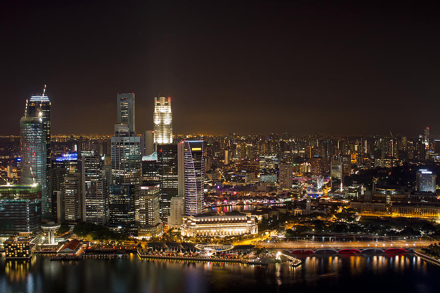Singapore Photograph - Singapore City Skyline At Night by David Gn
