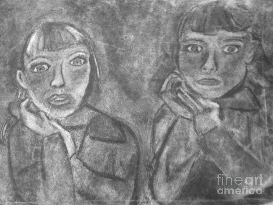 Sisters Drawing - Sisters by Khristin Kelly