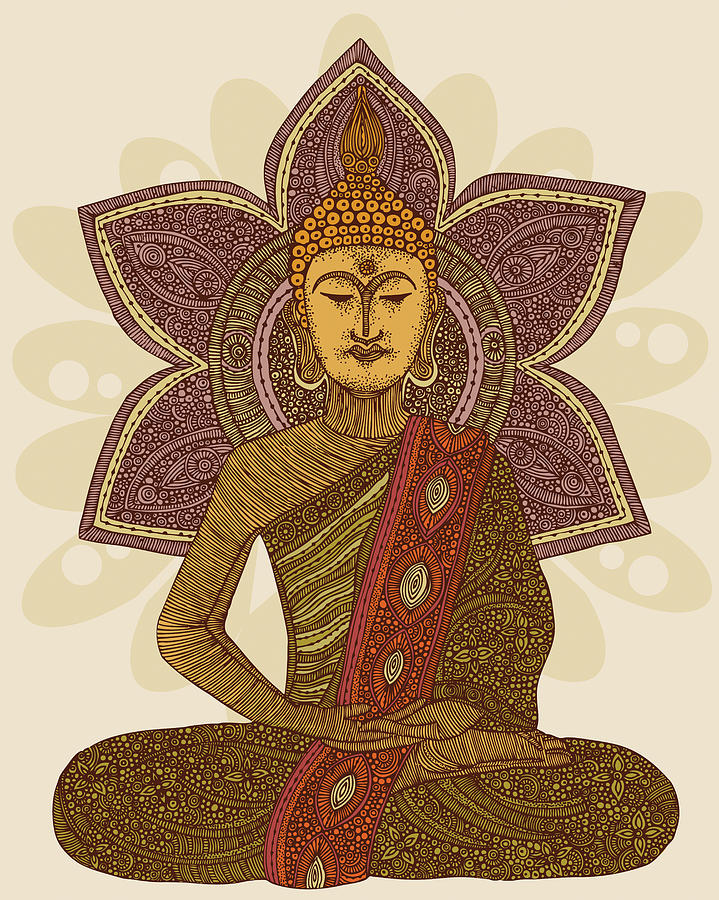 Illustration Photograph - Sitting Buddha by Valentina Ramos