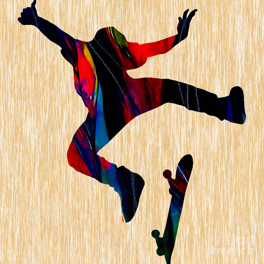 Skateboarder Art Mixed Media by Marvin Blaine