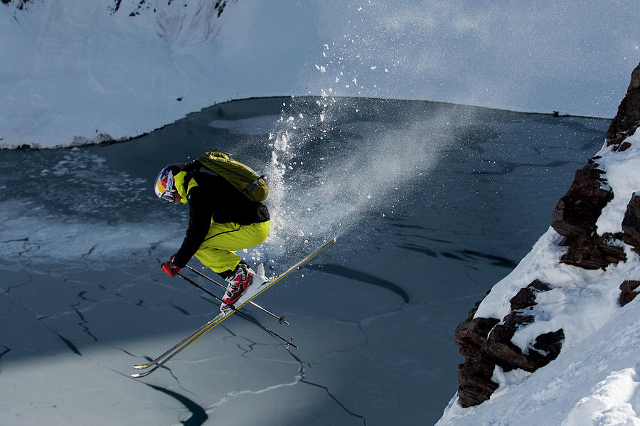 Adventure Photograph - Skier Jumping On A Sunny Day by Adam Clark