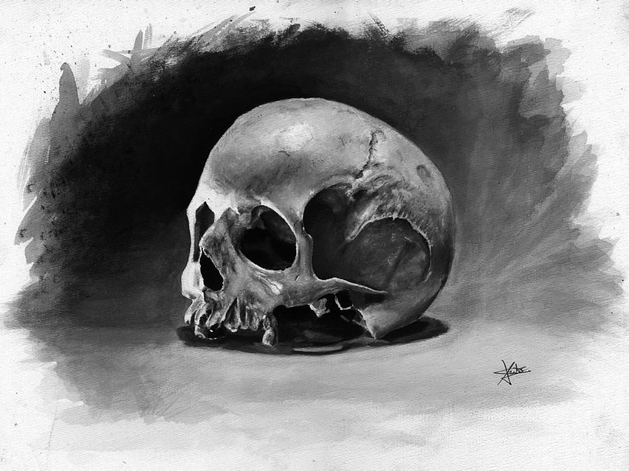 Skull Painting - Skull by Christian Klute