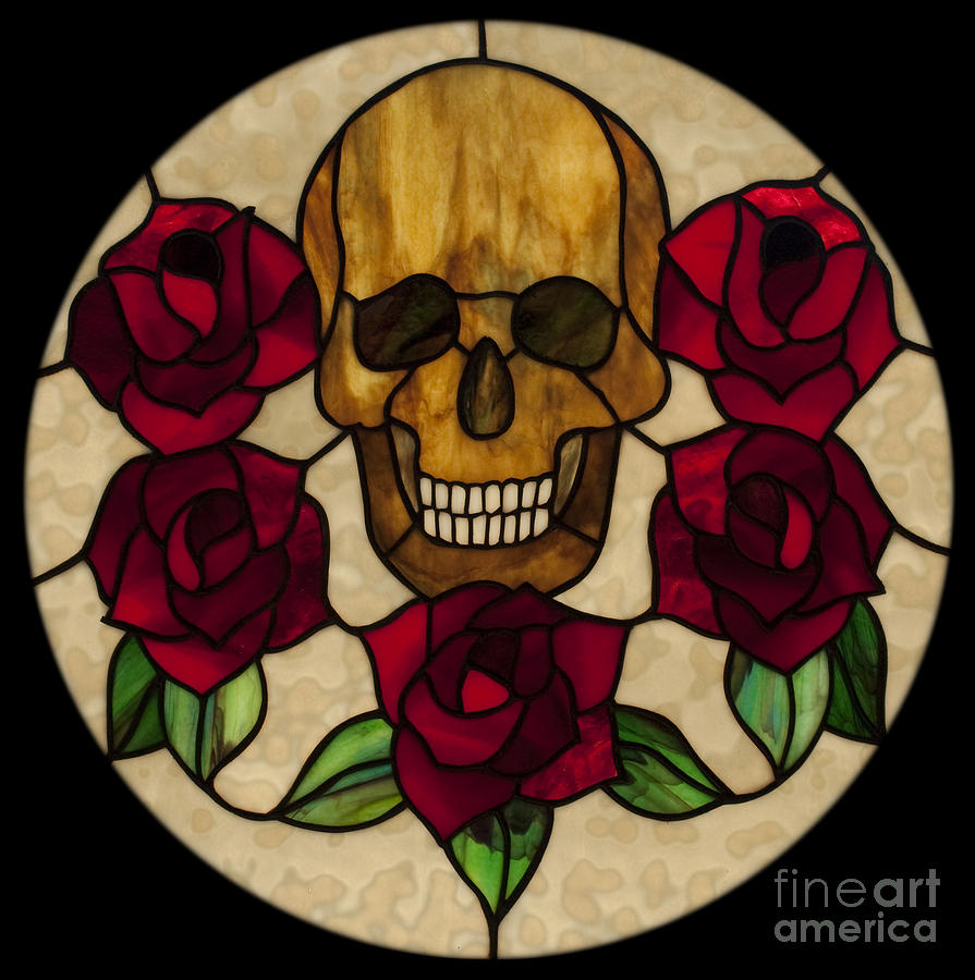 Stained Glass Glass Art - Skull No 1 by David Kennedy