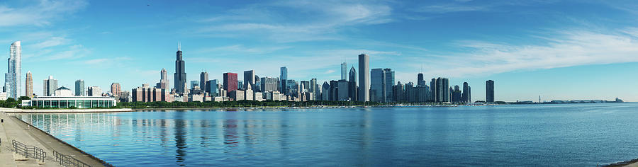 Horizontal Photograph - Skylines At The Waterfront, Lake by Panoramic Images