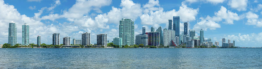 Horizontal Photograph - Skylines At The Waterfront, Miami by Panoramic Images