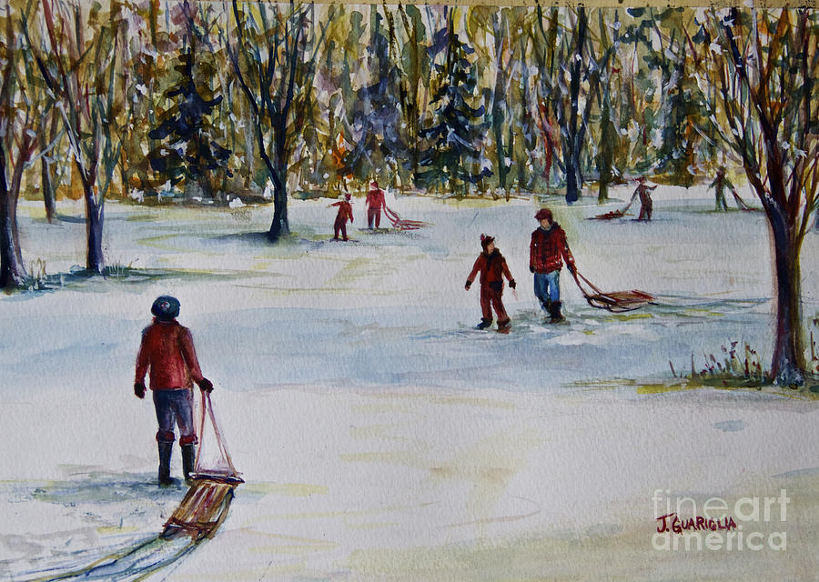 Children Pastel - Sledding by Joyce A Guariglia