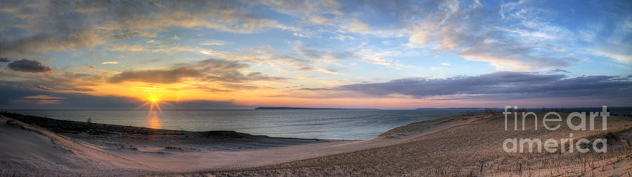 Sleeping Photograph - Sleeping Bear Dunes Sunset Panorama by Twenty Two North Photography