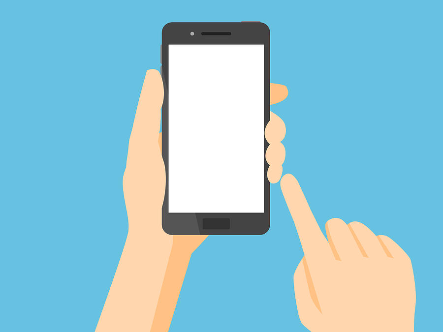 Smartphone with blank white screen Drawing by Yuoak