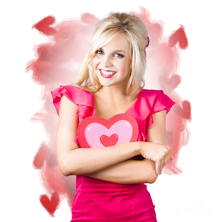 Hearts Photograph - Smiling Romantic Blond Female Hugging Love Heart 1 by Jorgo Photography - Wall Art Gallery