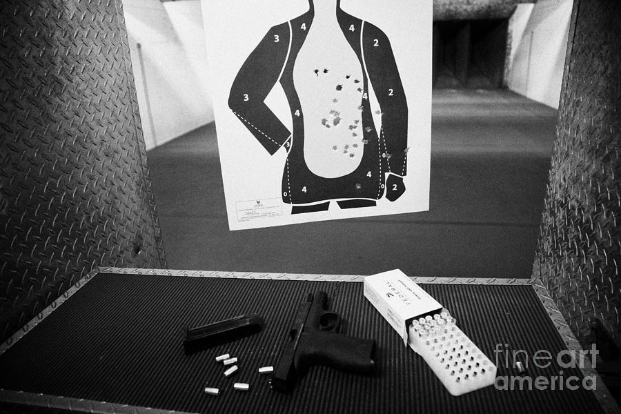 Shooting Photograph - Smith And Wesson 9mm Handgun With Ammunition At A Gun Range by Joe Fox