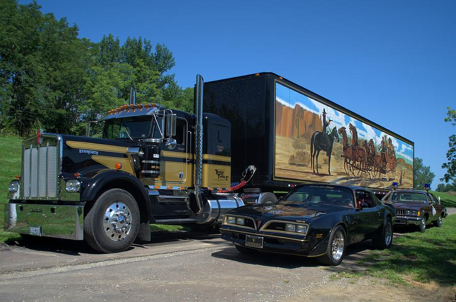 smokey and the bandit tribute 1973 kenworth semi truck and the bandit photograph by tim mccullough. Black Bedroom Furniture Sets. Home Design Ideas