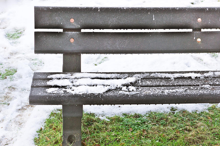 Abstract Photograph - Snow On Bench by Tom Gowanlock
