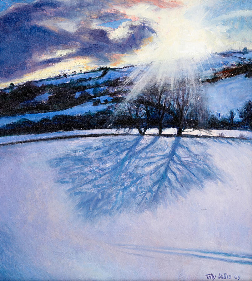 Winter Painting - Snow Shadows by Tilly Willis