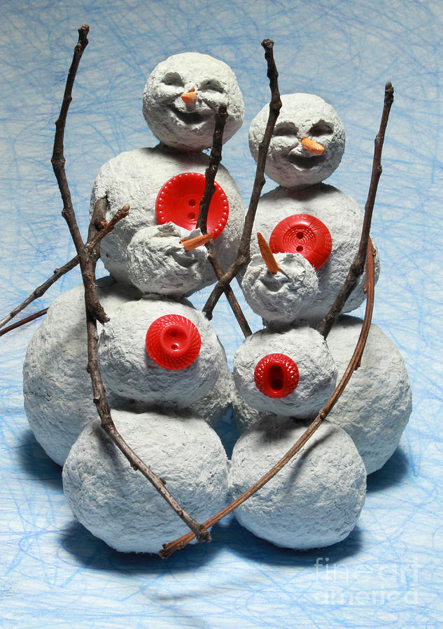 Snowman Mixed Media - Snowman Family Christmas Card by Adam Long