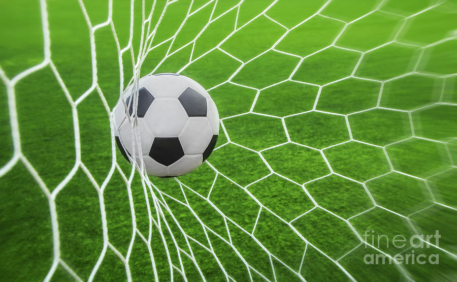 Soccer Photograph - Soccer Ball In Goal  by Anek Suwannaphoom