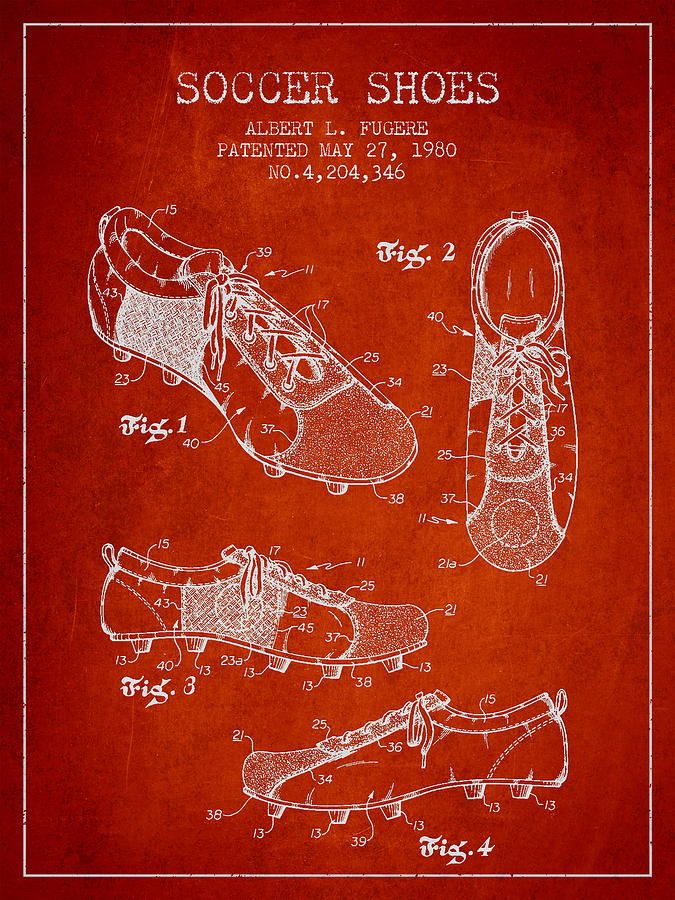 Soccer Shoe Digital Art - Soccershoe Patent From 1980 by Aged Pixel