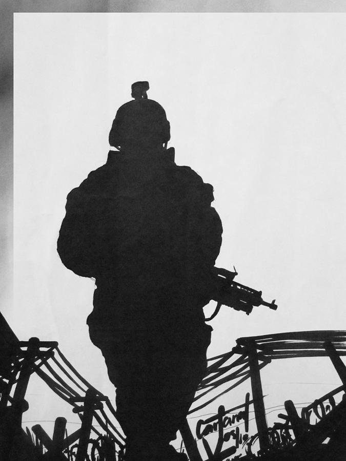 Silhouette Drawing - Soldier by David Cohen