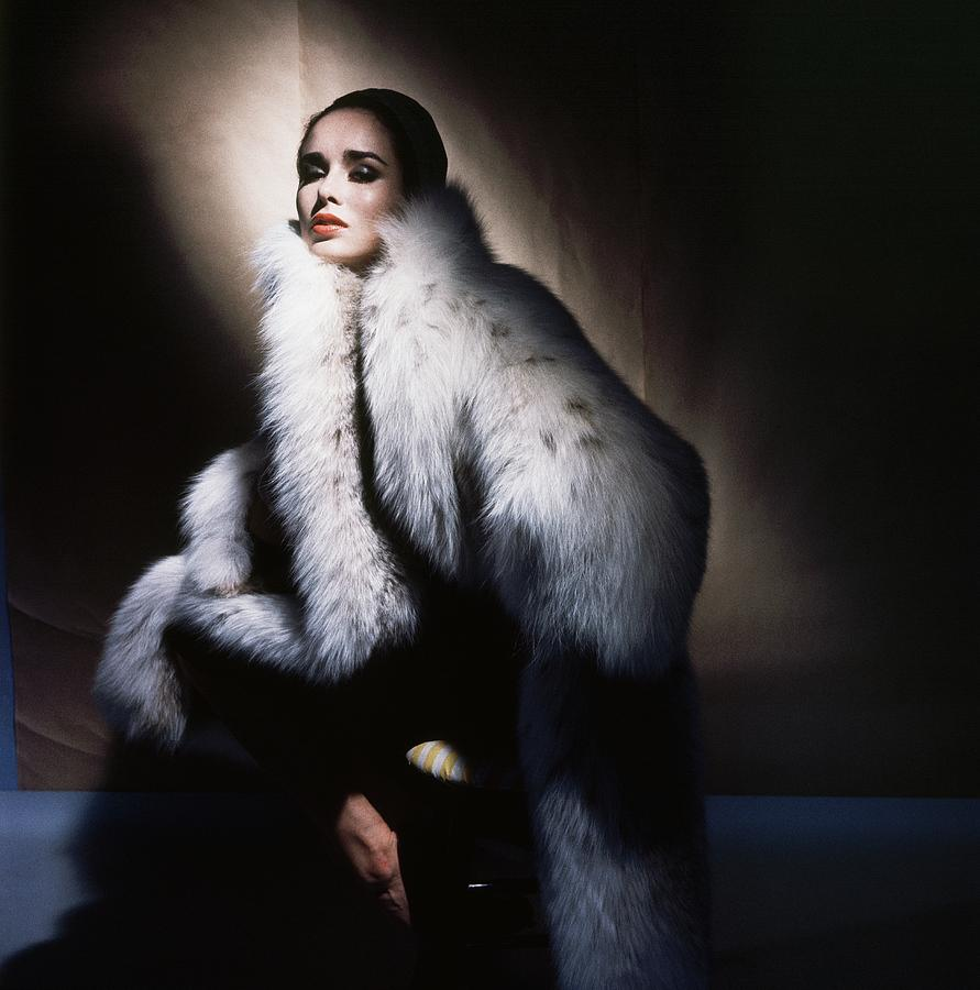 Sondra Peterson Wearing White Fur Coat Photograph by Horst P. Horst