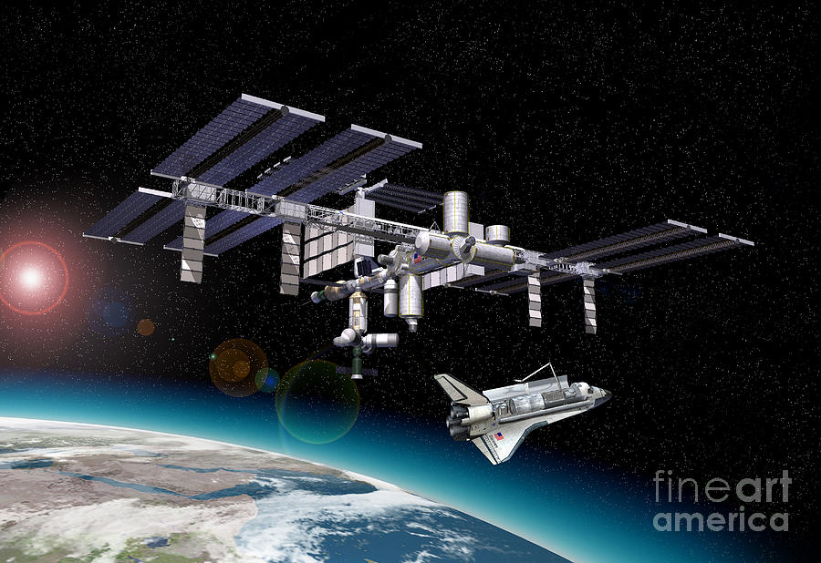 Three Dimensional Digital Art - Space Station In Orbit Around Earth by Leonello Calvetti