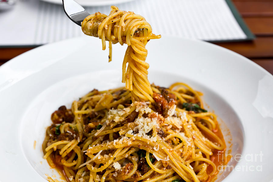 Basil Photograph - Spaghetti on the fork by Tosporn Preede