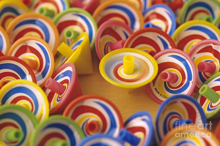 Childhood Photograph - Spinning Tops by Jim Corwin