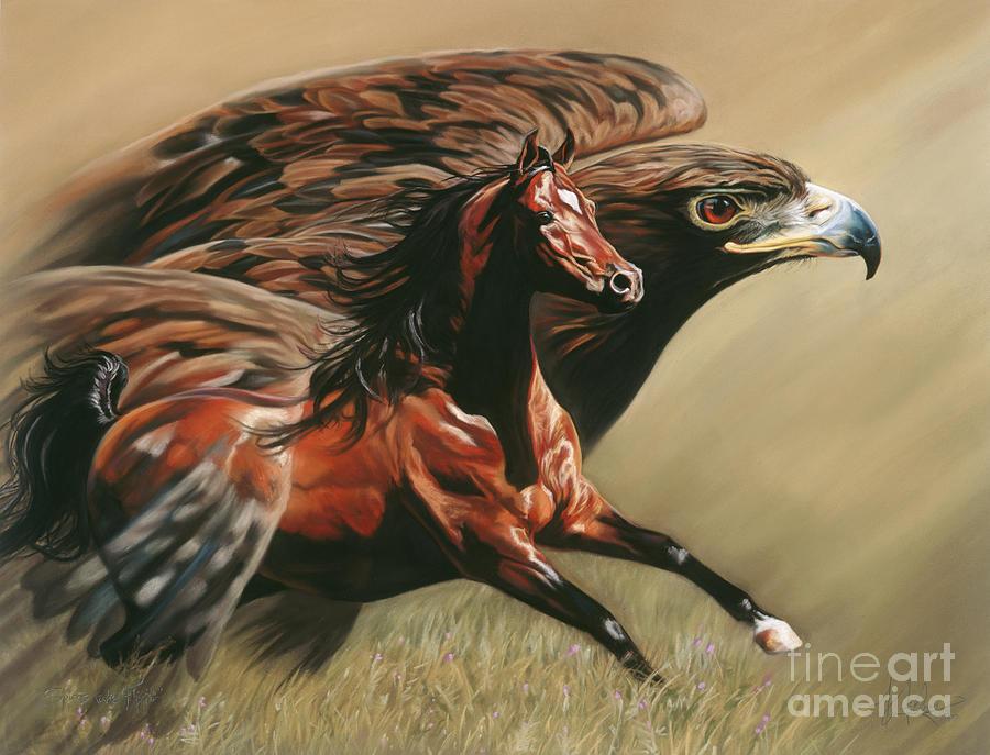 Arabian Horse Painting - Spirits Take Flight by Kim McElroy