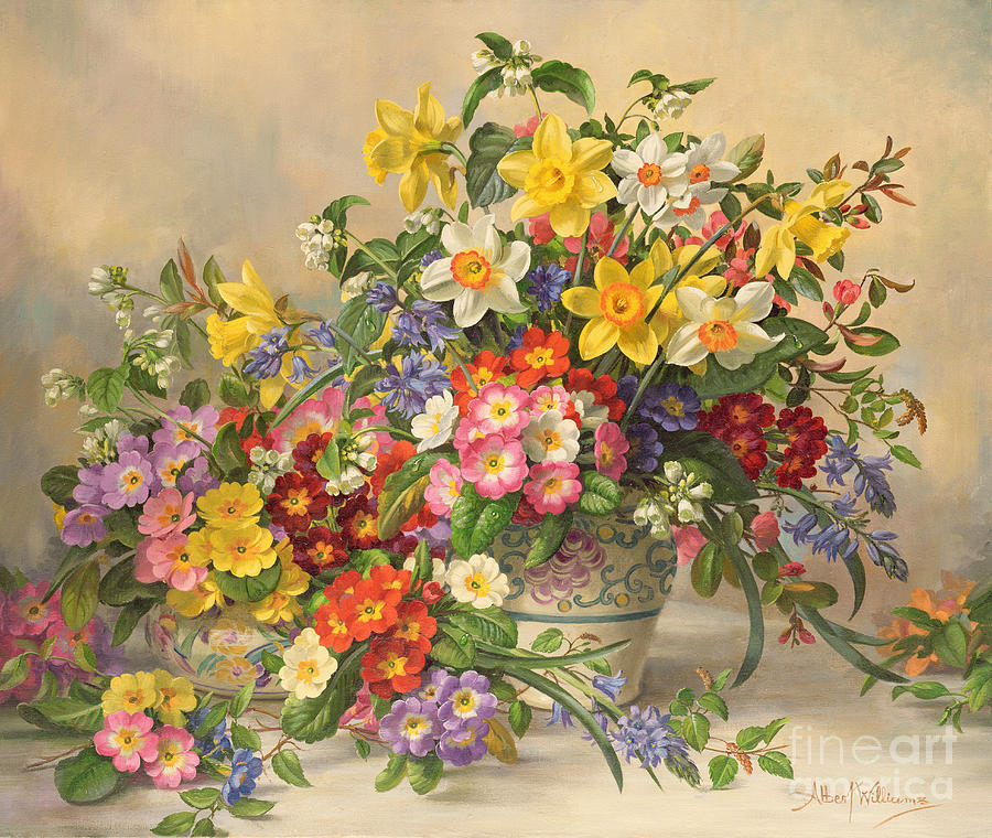 Primula Painting - Spring Flowers And Poole Pottery by Albert Williams