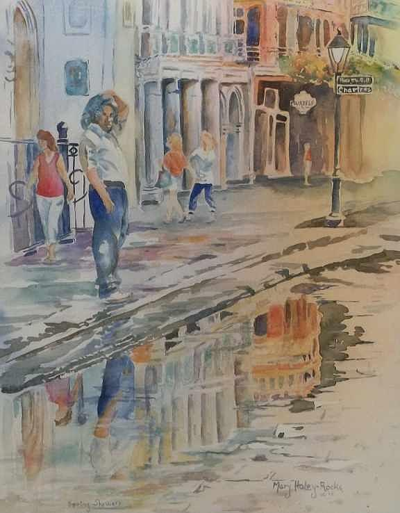 City Scene Painting - Spring Showers 1 by Mary Haley-Rocks