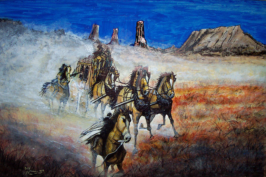 Lajos Markos (1917 – 1993) « AMERICAN GALLERY  |Large Western Stagecoach Art