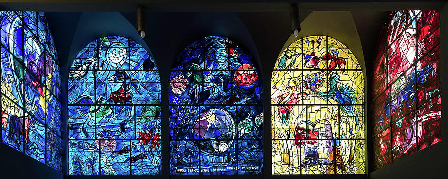 Horizontal Photograph - Stained Glass Chagall Windows by Panoramic Images